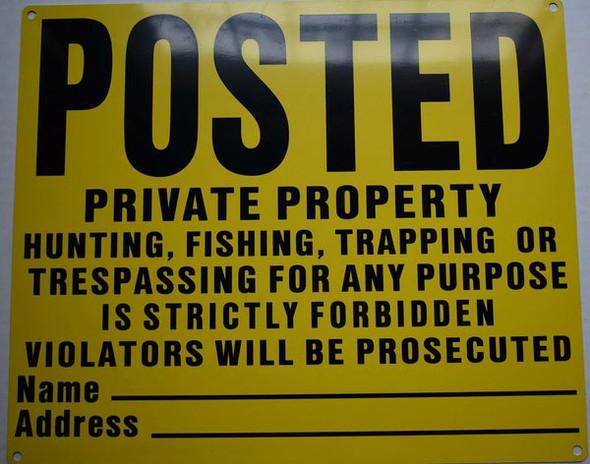 NO TRESPASSING Signage- YELLOW