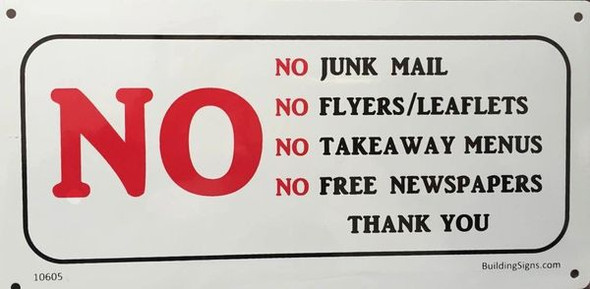 No Junk Mail Sign for Building