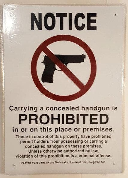 NO CONCEALED CARRY Signage - ALUMINUM