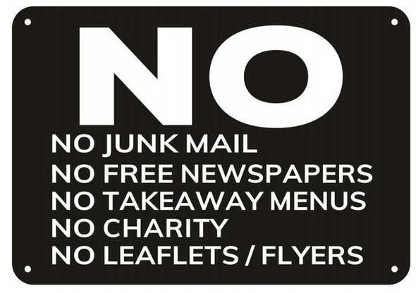 NO JUNK MAIL NO FLYERS