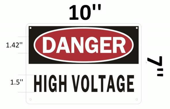 DANGER HIGH VOLTAGE Sign White