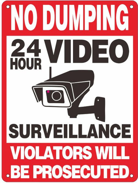 NO DUMPING VIOLATORS WILL BE PROSECUTED 24 HOUR VIDEO SURVEILLANCE SIGN
