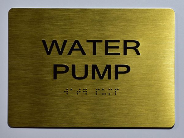 WATER PUMP Sign -Tactile Signs Tactile Signs    Braille sign
