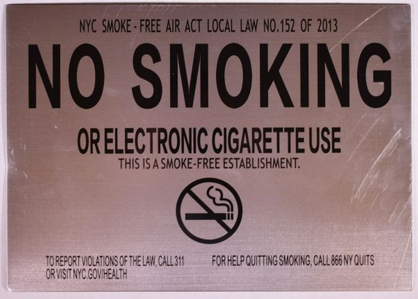 NO SMOKING OR ELECTRONIC CIGARETTE USE SIGN for Building