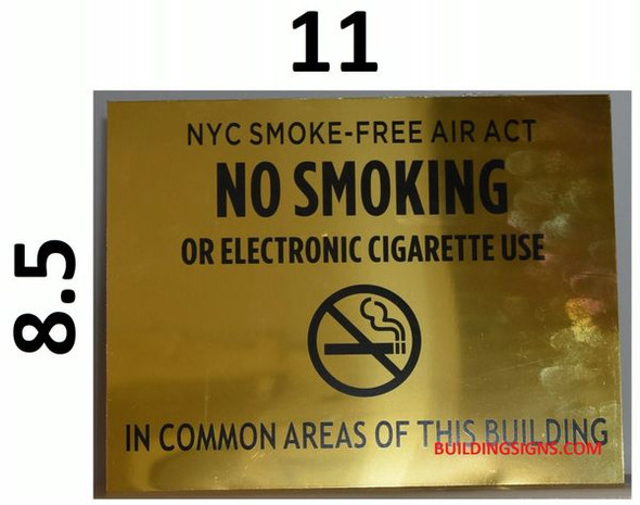 NYC Smoke free Act Sign for Building