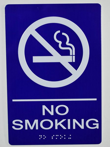 NO SMOKING Sign -Tactile Signs Tactile Signs  BLUE- BRAILLE  Ada sign