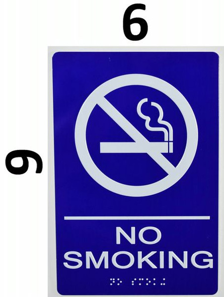 NO SMOKING Sign -Tactile Signs Tactile Signs  BLUE- BRAILLE   Braille sign