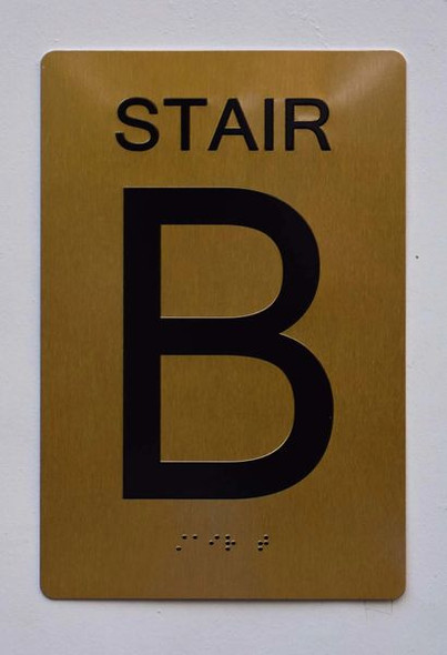STAIR B SIGN ADA Tactile Signs    Braille sign