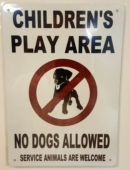 CHILDREN'S PLAY AREA SIGNAGE- NO DOGS ALLOWED SERVICE ANIMALS ARE WELCOME SIGNAGE- WHITE BACKGROUND
