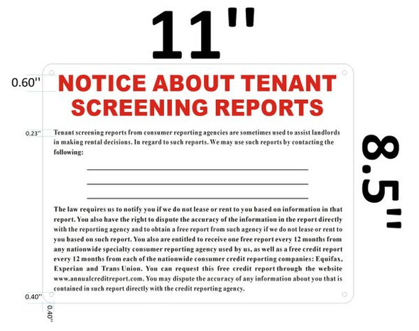 NOTICE ABOUT TENANT SCREENING REPORTS for Building