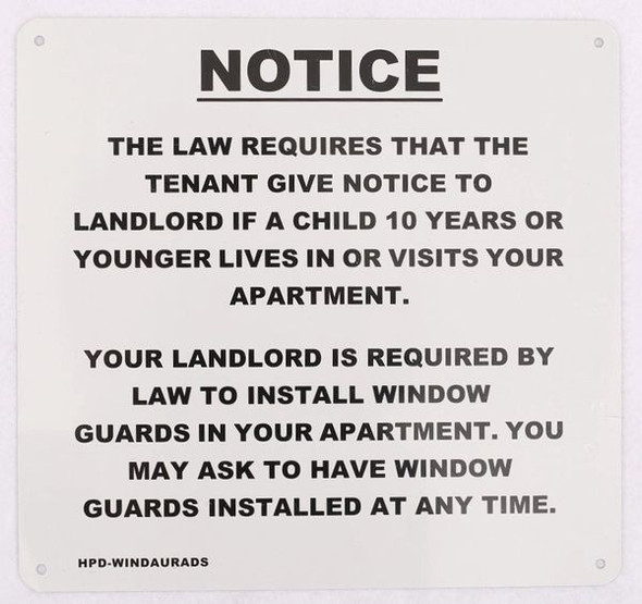 Window Guards Notice sign