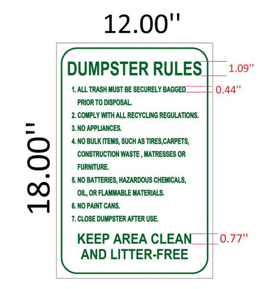 DUMPSTER RULES SIGN for Building