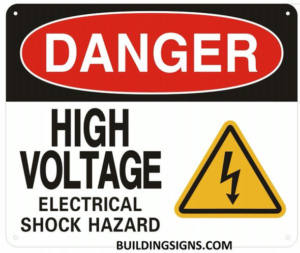 DANGER HIGH VOLTAGE ELECTRICAL SHOCK HAZARD SIGN
