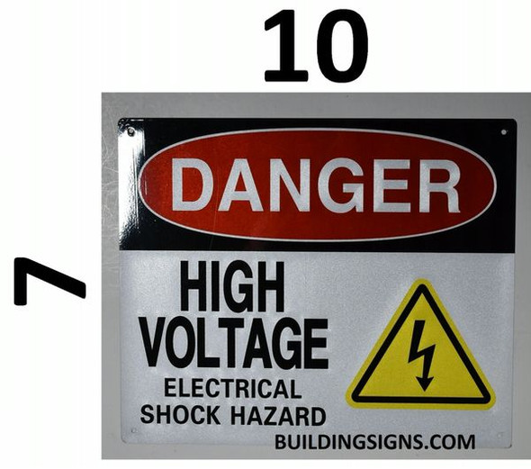 DANGER HIGH VOLTAGE ELECTRICAL SHOCK HAZARD SIGN for Building