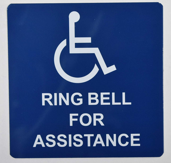ADA Access Ring Bell for Assistance Sign -The Pour Tous Blue LINE