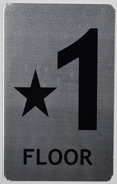 Star Floor ONE Number Sign for Building