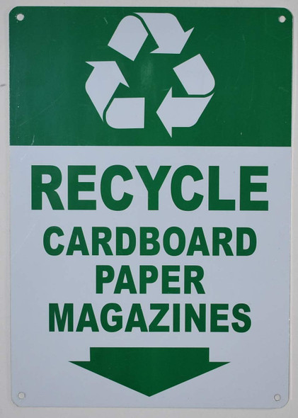 """Recycle - Cardboard Paper Magazines"" Sign with Down Arrow Sign (Green/White Background,Aluminium, ))"