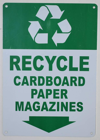 """Recycle - Cardboard Paper Magazines"" SIGNAGE with Down Arrow SIGNAGE (Green/White Background,Aluminium, ))"