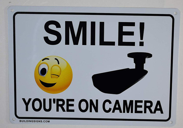 2 Pack -Smile You're On Camera Sign  for Building