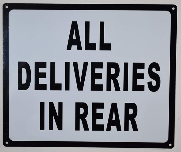 All Deliveries in Rear Sign for Buildings