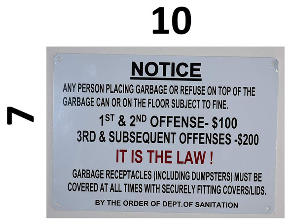 Notice Any Person Placing Garbage on top of The Garbage can or on The Floor Subject to fine Sign for Buildings