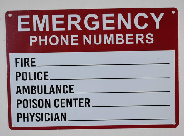 Emergency Phone Numbers Safety Sign - Fire, Police, Ambulance, Poison Center, Physician