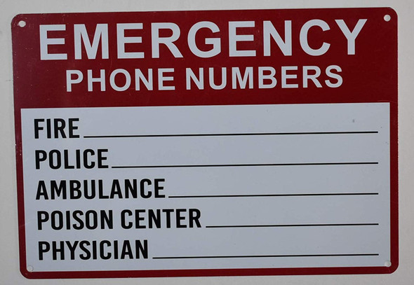 Emergency Phone Numbers Safety Sign - Fire, Police, Ambulance, Poison Center, Physician for Buildings