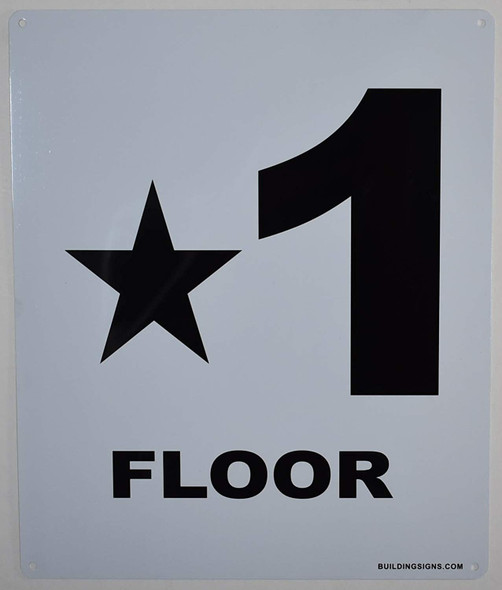 Star 1 Floor Number Sign for Buildings