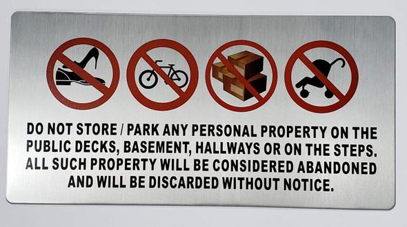 No Storage in Hallway Sign (Silver, Aluminium,)