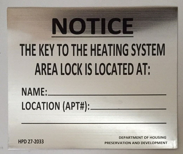 KEY TO THE HEATING SYSTEM SIGN