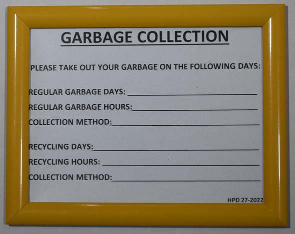 HPD NYC GARBAGE COLLECTION SIGN
