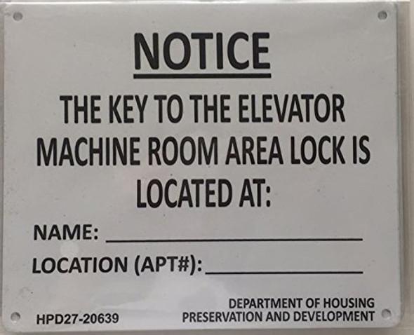 KEY TO ELEVATOR MACHINE ROOM sign