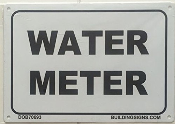 WATER METER SIGN (WHITE  ALUMINIUM )