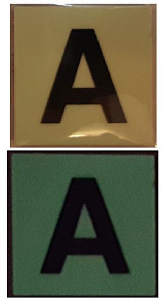 """PHOTOLUMINESCENT DOOR IDENTIFICATION NUMBER A SIGN HEAVY DUTY / GLOW IN THE DARK """"DOOR NUMBER"""" SIGN HEAVY DUTY (ALUMINUM SIGN 1.5 X 1.5)"""