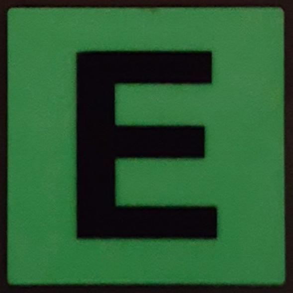 PHOTOLUMINESCENT DOOR IDENTIFICATION NUMBER E SIGN HEAVY DUTY / GLOW IN THE DARK