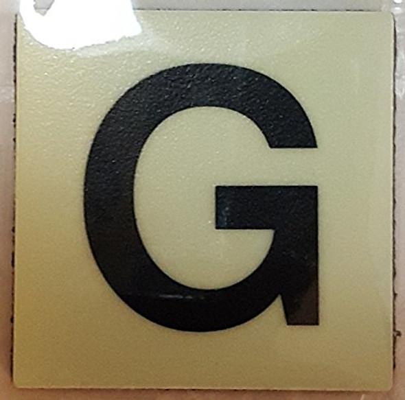 PHOTOLUMINESCENT DOOR IDENTIFICATION NUMBER G SIGN HEAVY DUTY / GLOW IN THE DARK