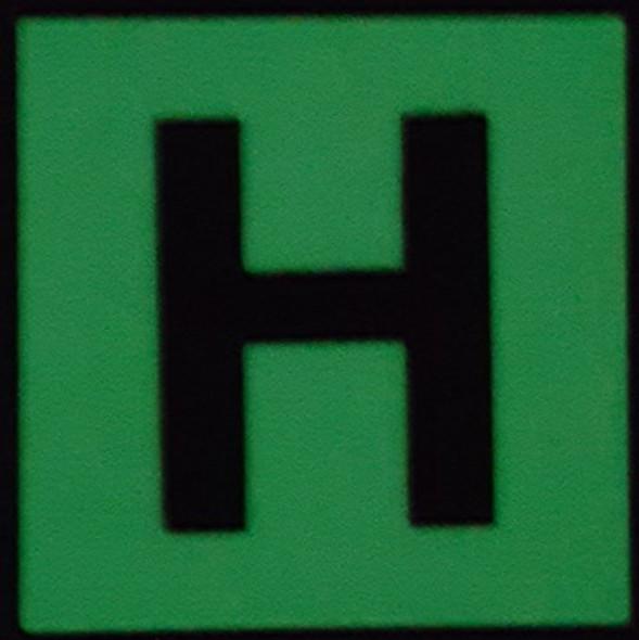 """PHOTOLUMINESCENT DOOR IDENTIFICATION NUMBER H SIGN HEAVY DUTY / GLOW IN THE DARK """"DOOR NUMBER"""" SIGN HEAVY DUTY (ALUMINUM SIGN 1.5 X 1.5)"""