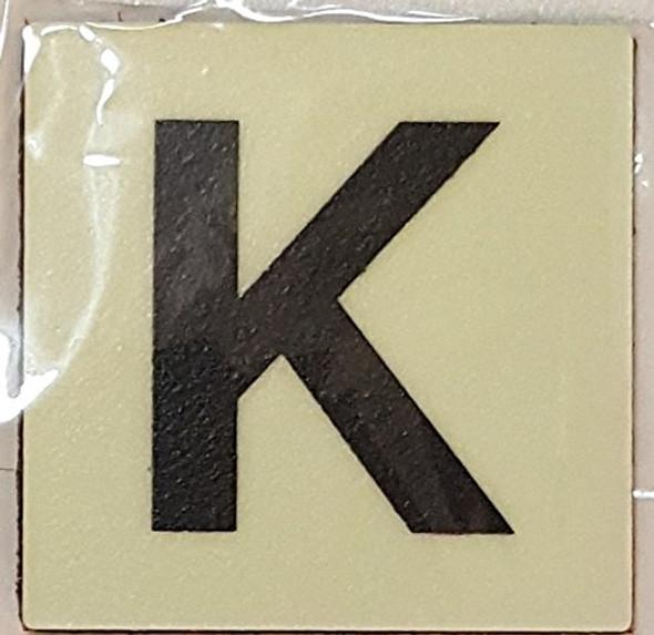 PHOTOLUMINESCENT DOOR IDENTIFICATION NUMBER K SIGN HEAVY DUTY / GLOW IN THE DARK