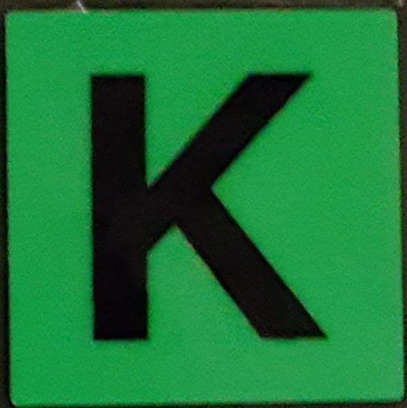 """PHOTOLUMINESCENT DOOR IDENTIFICATION NUMBER K SIGN HEAVY DUTY / GLOW IN THE DARK """"DOOR NUMBER"""" SIGN HEAVY DUTY (ALUMINUM SIGN 1.5 X 1.5)"""