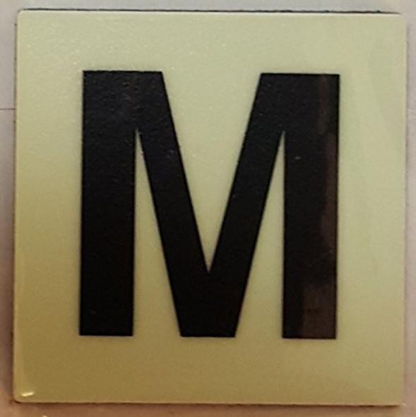 PHOTOLUMINESCENT DOOR IDENTIFICATION NUMBER M SIGN HEAVY DUTY / GLOW IN THE DARK