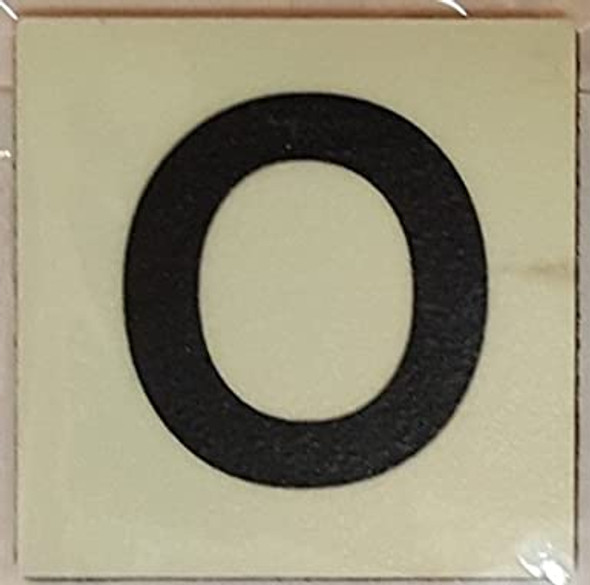 PHOTOLUMINESCENT DOOR IDENTIFICATION LETTER O SIGN HEAVY DUTY / GLOW IN THE DARK
