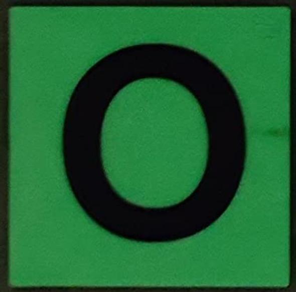 PHOTOLUMINESCENT DOOR IDENTIFICATION LETTER O SIGN HEAVY DUTY / GLOW IN THE DARK