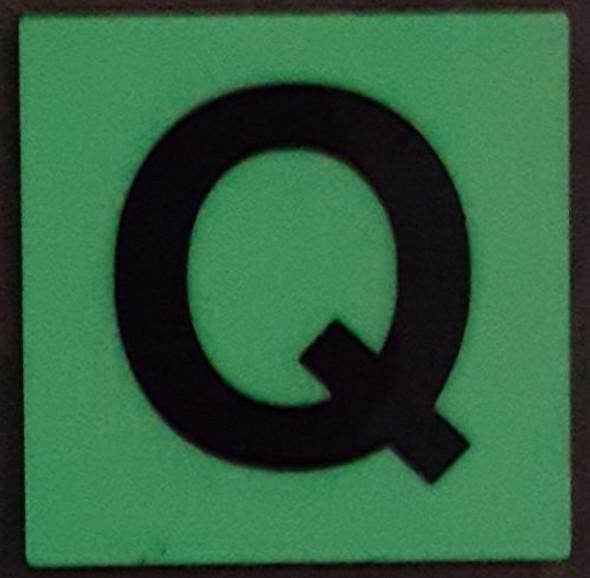 PHOTOLUMINESCENT DOOR IDENTIFICATION LETTER Q SIGN HEAVY DUTY / GLOW IN THE DARK