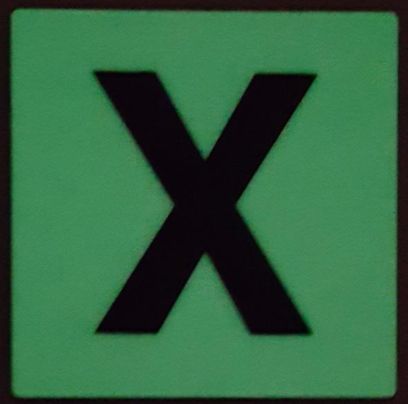 """PHOTOLUMINESCENT DOOR IDENTIFICATION LETTER X SIGN HEAVY DUTY / GLOW IN THE DARK """"DOOR NUMBER"""" SIGN HEAVY DUTY (ALUMINUM SIGN 1.5 X 1.5)"""