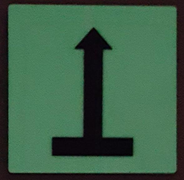 PHOTOLUMINESCENT DOOR IDENTIFICATION NUMBER ARROW UP SIGN HEAVY DUTY / GLOW IN THE DARK