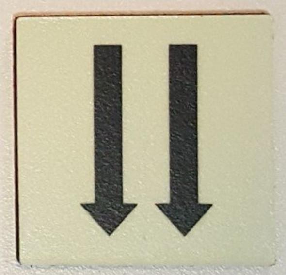 PHOTOLUMINESCENT DOOR IDENTIFICATION LETTER TWO ARROW DOWN SIGN HEAVY DUTY / GLOW IN THE