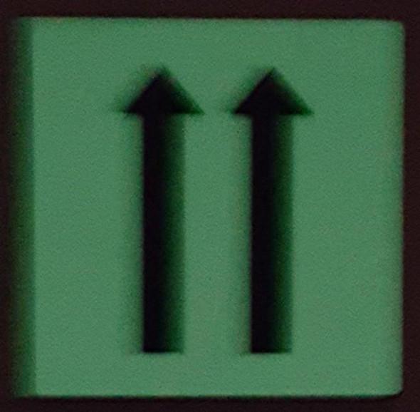 "PHOTOLUMINESCENT DOOR IDENTIFICATION LETTER ""Two Arrow Up"" SIGN HEAVY DUTY / GLOW IN THE DARK"