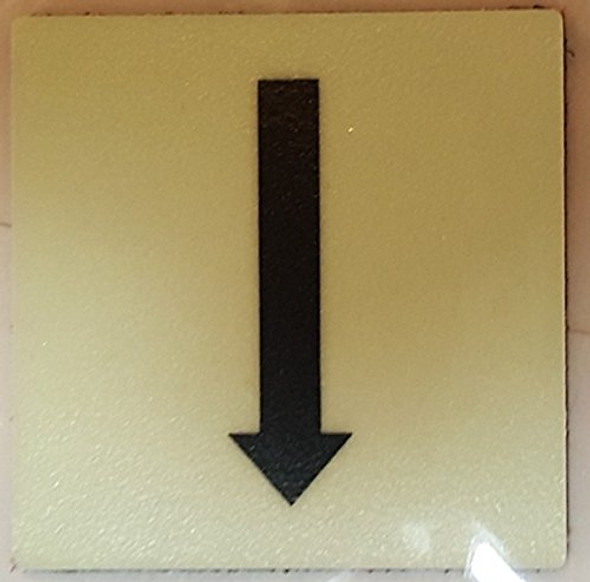 "PHOTOLUMINESCENT DOOR IDENTIFICATION LETTER ""One Arrow Down size"" SIGN HEAVY DUTY / GLOW IN THE DARK"