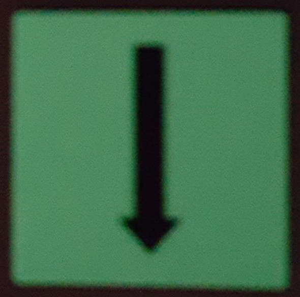 "PHOTOLUMINESCENT DOOR IDENTIFICATION LETTER ""One Arrow Down size"" SIGN HEAVY DUTY / GLOW IN THE DARK"