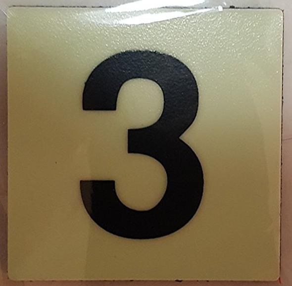 PHOTOLUMINESCENT DOOR IDENTIFICATION NUMBER 3 (THREE) SIGN HEAVY DUTY / GLOW IN THE DARK